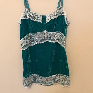 Turquoise & Lace Lily White Tank